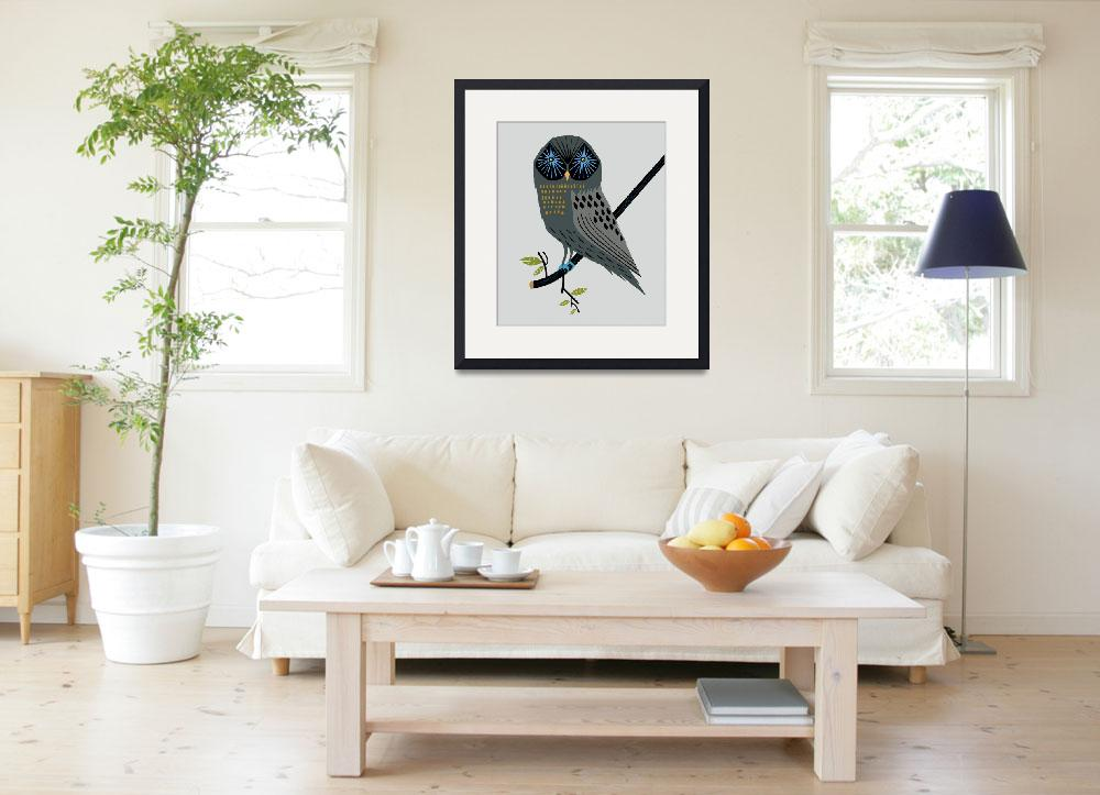 """""""The Perching Owl - Limited Edition Print""""  (2010) by iotaillustration"""