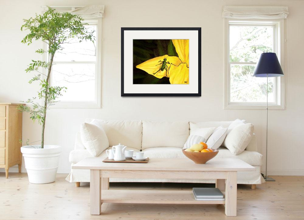 """""""Grasshopper On Yellow Lily&quot  (2004) by harryboardman"""