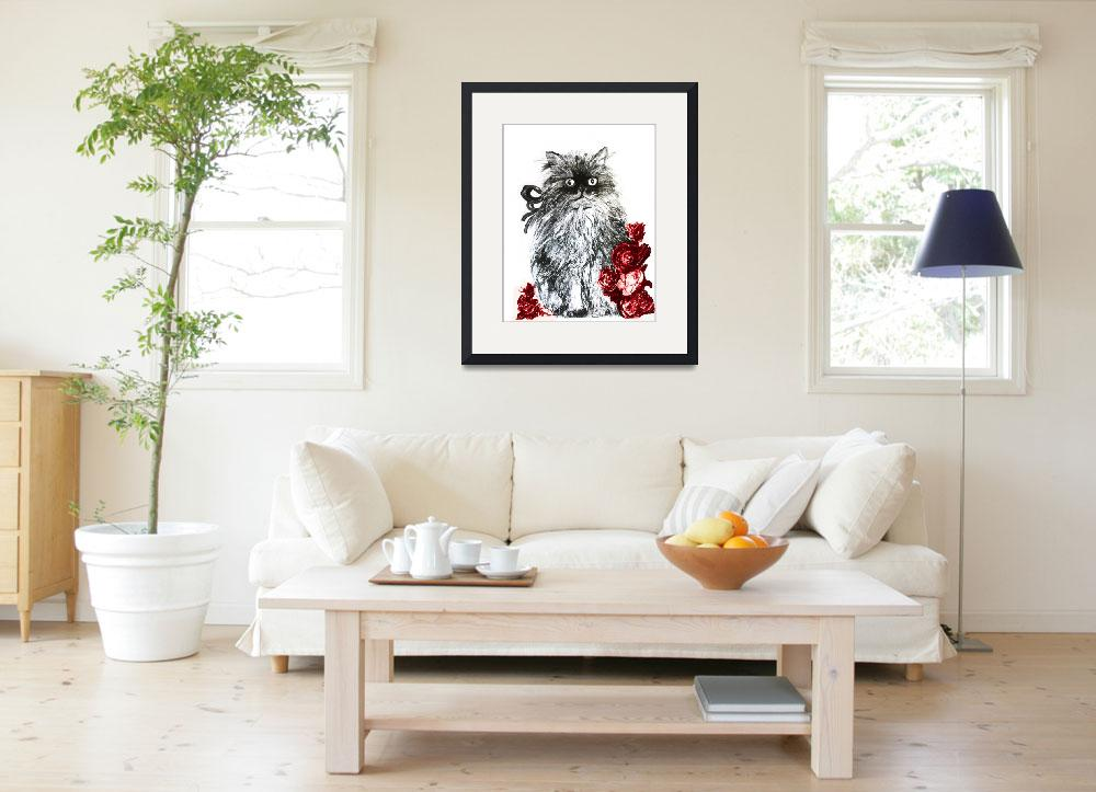 """""""KITTEN WITH RED ROSES ,Black and White""""  (2011) by BulganLumini"""
