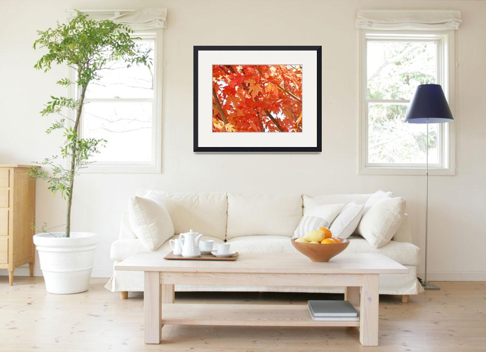 """""""FALL LEAVES Art Prints Gifts Orange Autumn Trees&quot  (2009) by BasleeTroutman"""