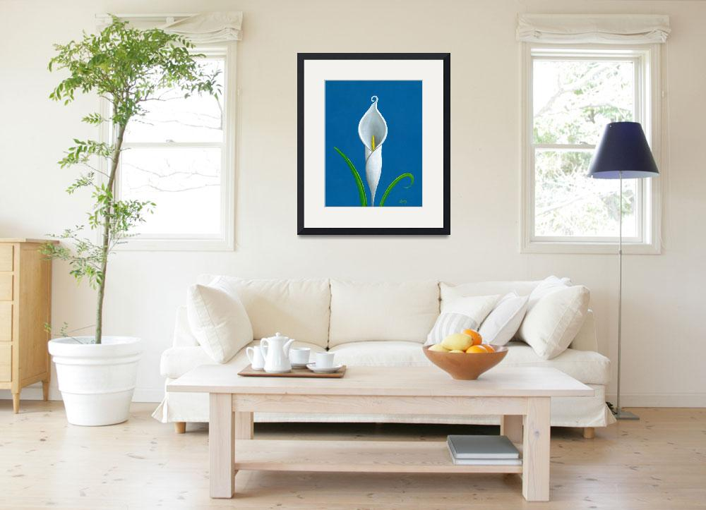 """""""White Cally Lilly on Blue&quot  (2010) by SonnyBergum"""