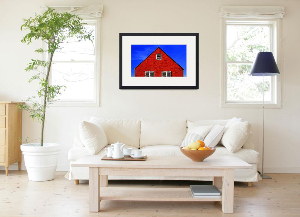 """""""D 69 Red Hut in Blue Sky&quot  by johnrochaphoto"""