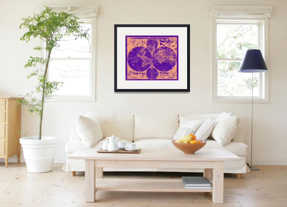 """Vintage Map of The World (1685) Tan & Purple&quot  by Alleycatshirts"