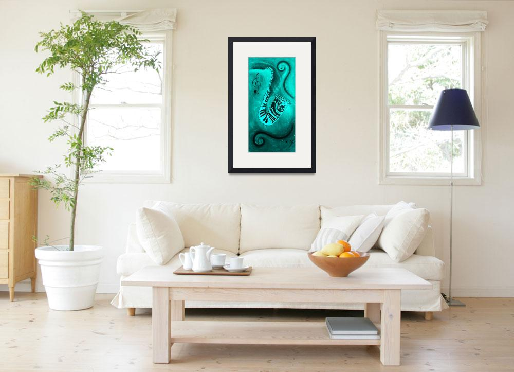 """""""Piano Keys in a Saxophone Teal Music In Motion&quot  by waynecantrell"""