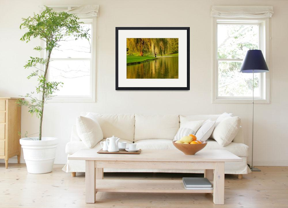 """""""Weeping Willow Tree Nature Landscape Scene&quot  (2008) by PhotographsByCarolFAustin"""
