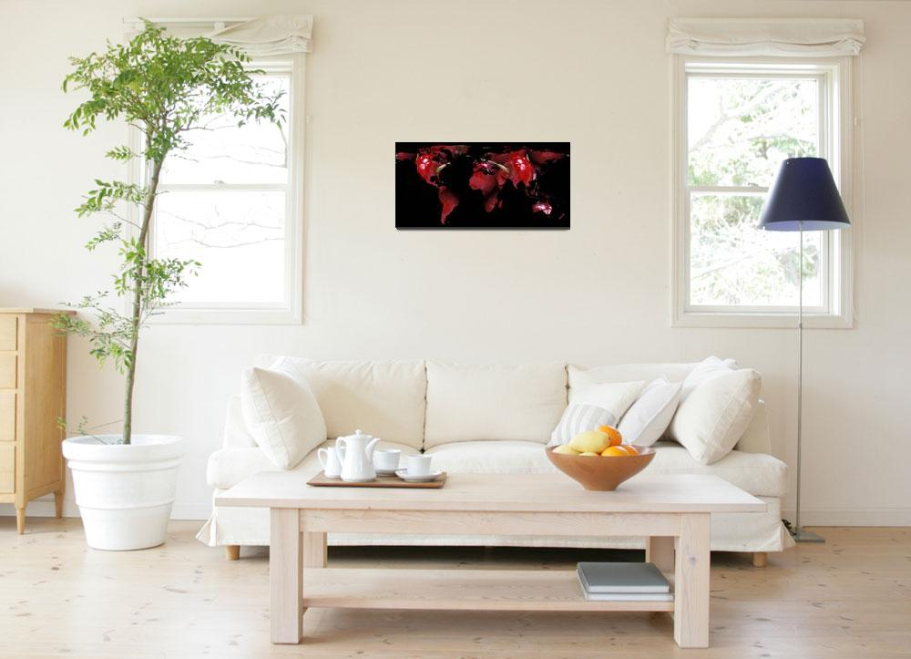 """""""World Map Silhouette - Red Cherries&quot  by Alleycatshirts"""