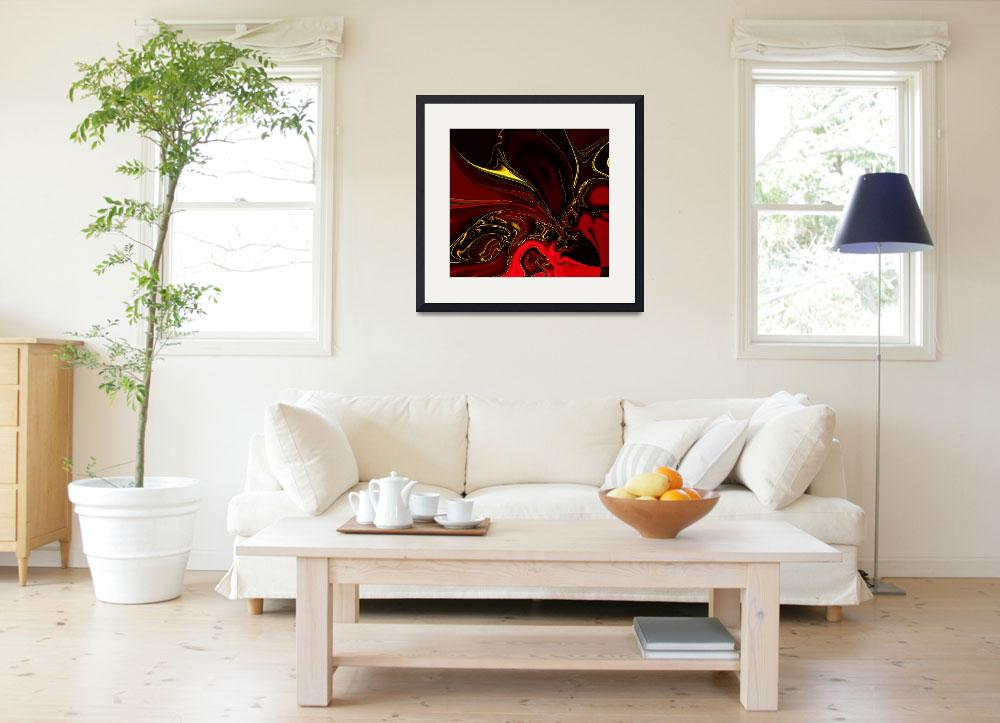 """""""Zizzago Art Abstract Red Gold Flame 4&quot  (2009) by shanmaree"""