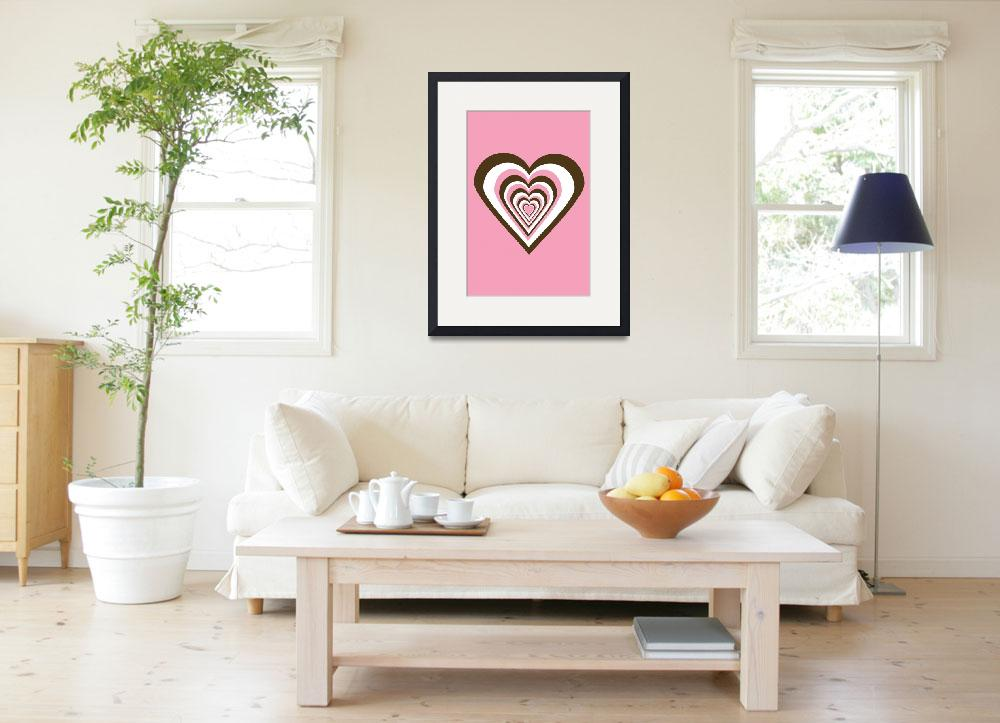 """Pink Brown and White Hearts""  (2009) by ValeriesGallery"