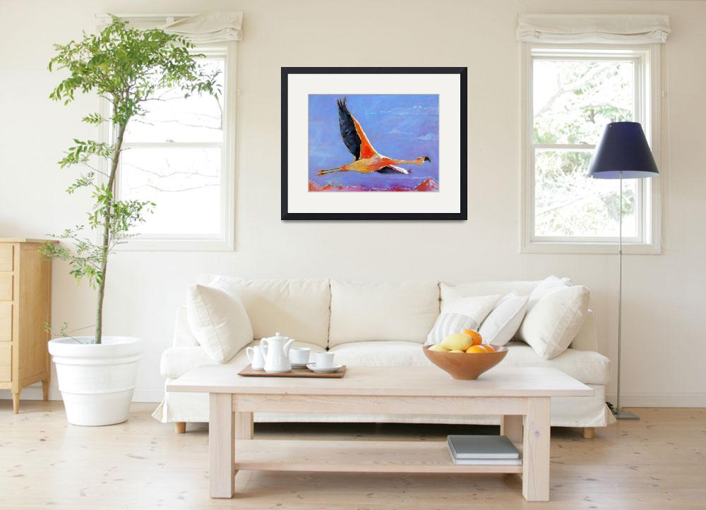 """""""Flamingo in Flight&quot  by AnnTuck"""