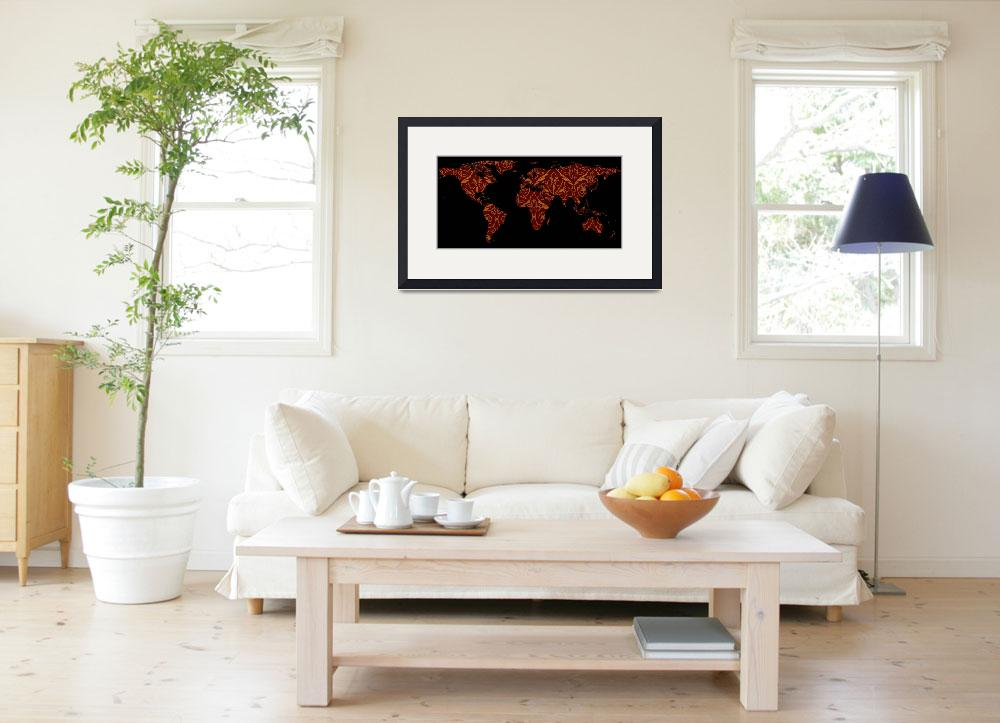 """""""World Map Silhouette - Orange & Red Floral Patten""""  by Alleycatshirts"""