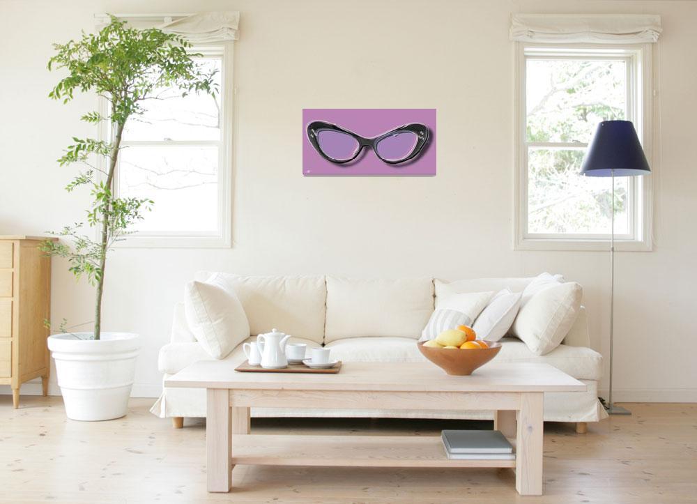 """Retro Glasses Funky Pop Purple&quot  by RubinoFineArt"