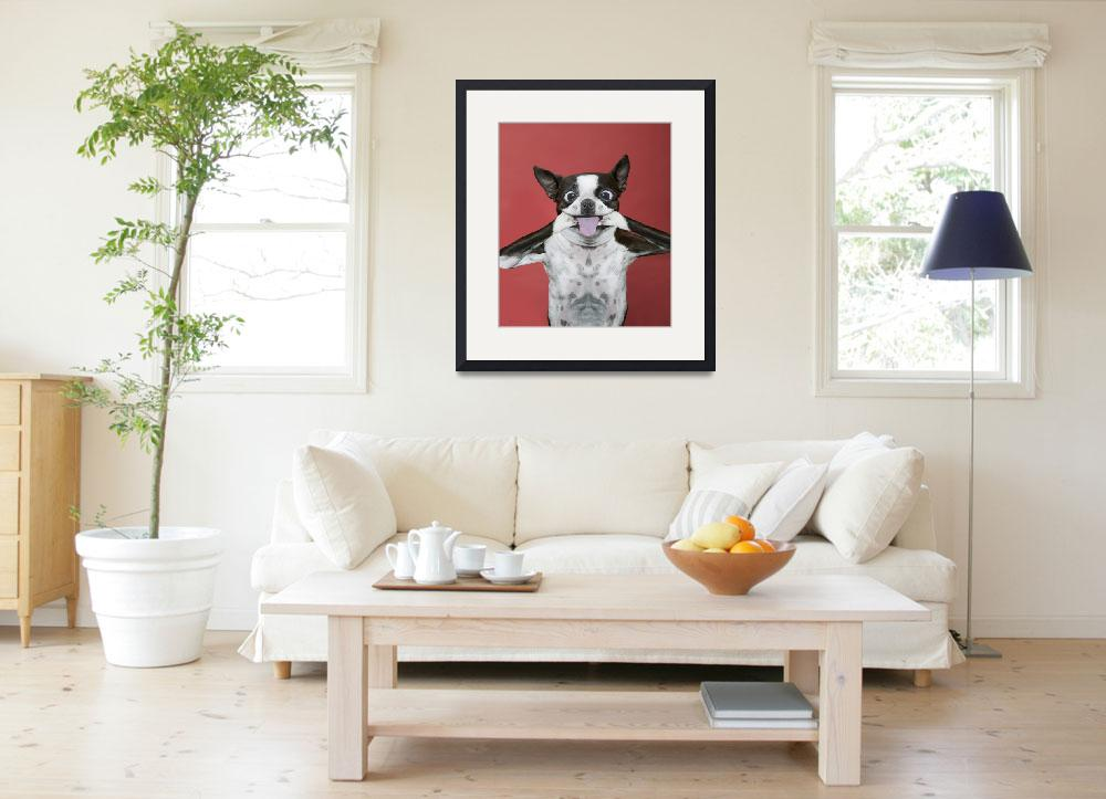 """""""Terrier Dog making a funny face sticking tongue&quot  (2010) by StephanieDRoeser"""