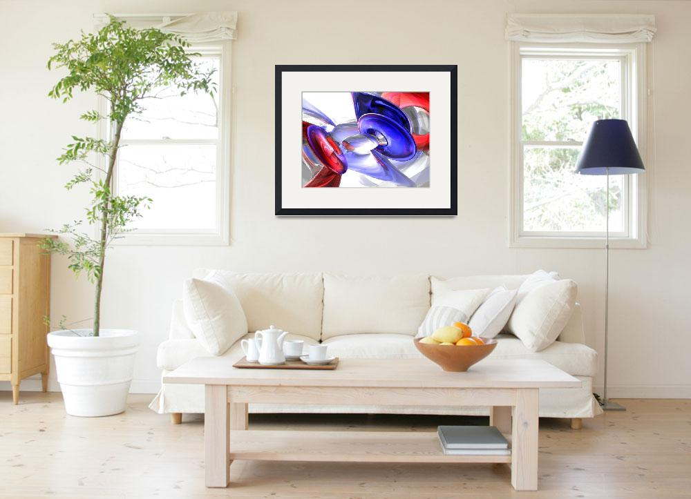"""""""Red, White and Blue Abstract&quot  (2009) by AlexButler"""