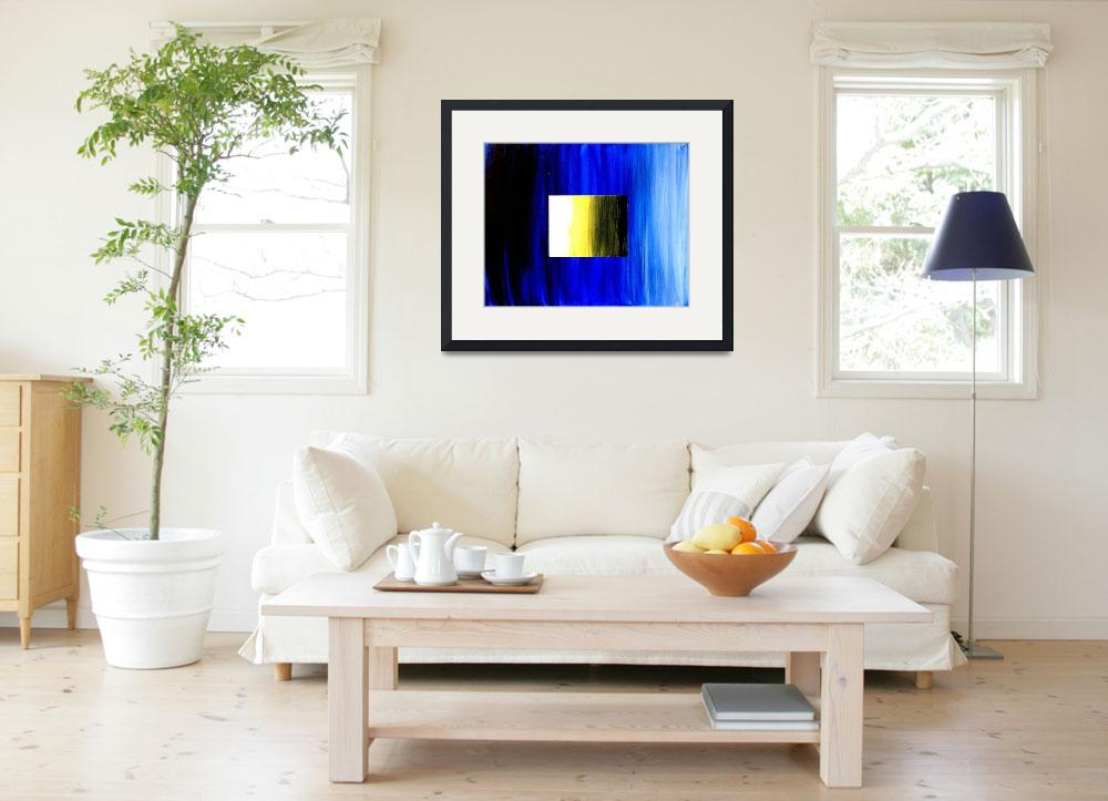 """""""ABSTRACT 3D BLUE GOLDEN SQUARE&quot  (2006) by teofaith"""
