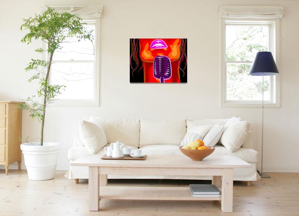 """Digital painting of a lady behind a karaoke""  (2009) by digitalpainting"