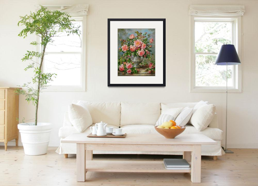 """""""English Elegance Roses in Silver Vase by A. Willia&quot  by fineartmasters"""