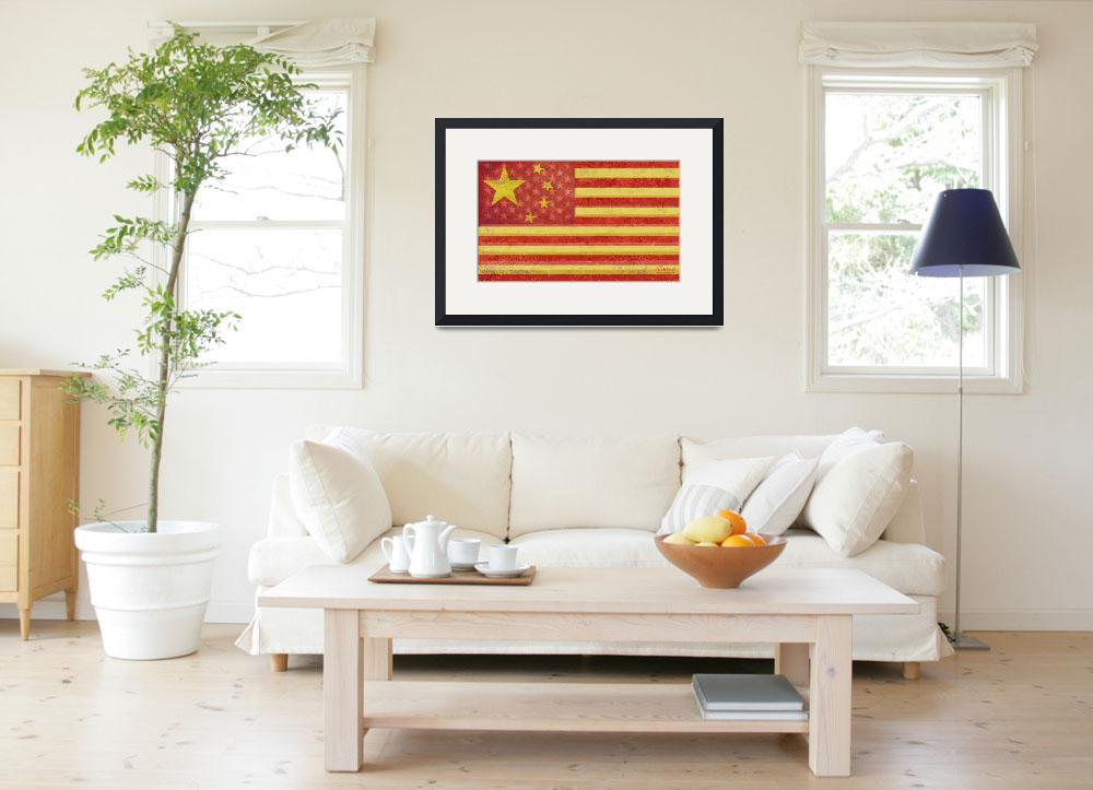 """""""Chinese American Flag Blend&quot  (2013) by RubinoFineArt"""