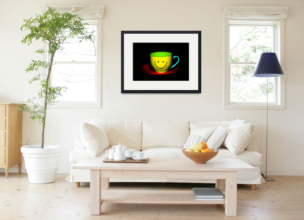 """""""Funny Wall Art - Smiley Colourful Teacup&quot  by NatalieKinnear"""