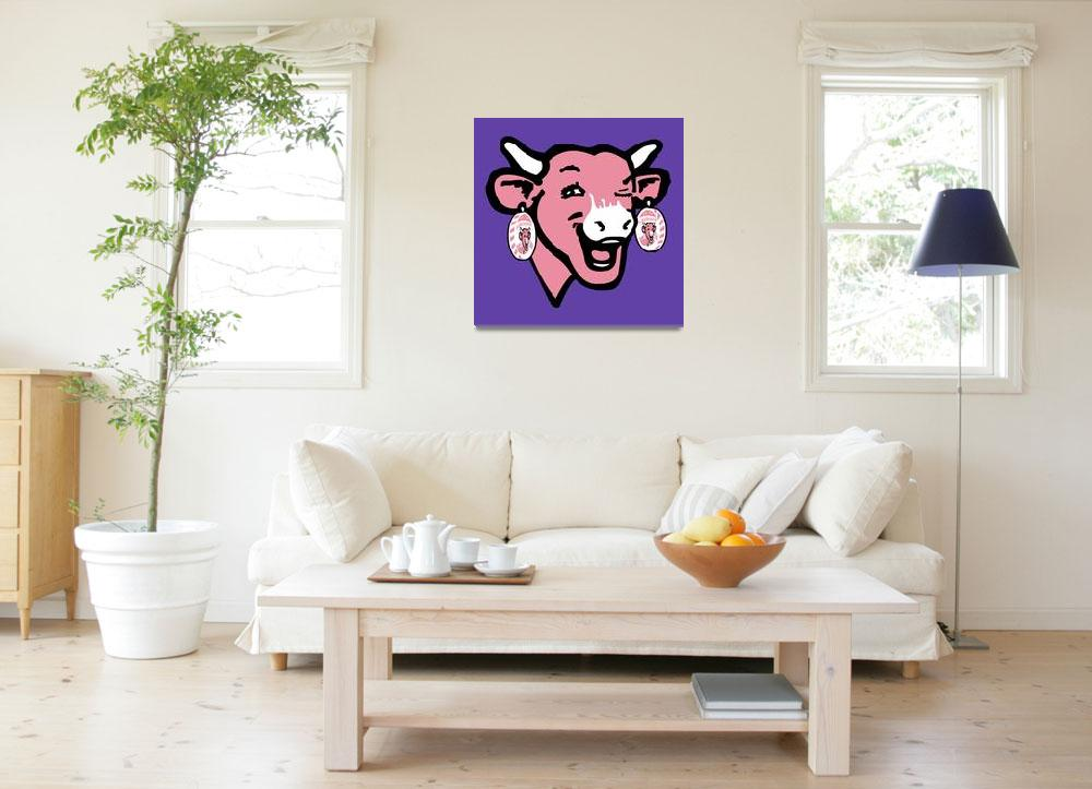"""""""The Laughing Cow Pop 4 - Pink on Purple""""  (2015) by peterpotamus"""