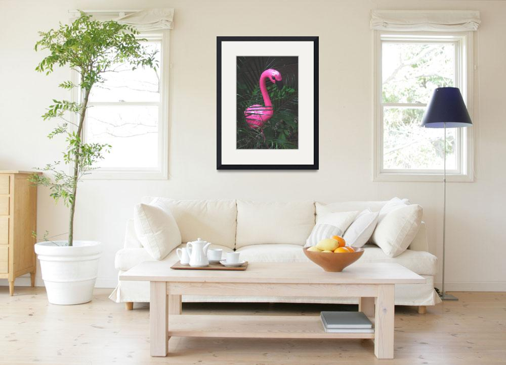"""""""PINK FLAMINGO PROTECTING THIS GARDEN&quot  by JAYMILO"""
