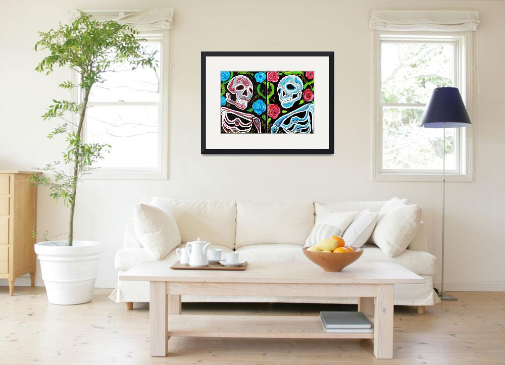 """Red and Blue Skulls and Roses&quot  (2012) by ArtPrints"