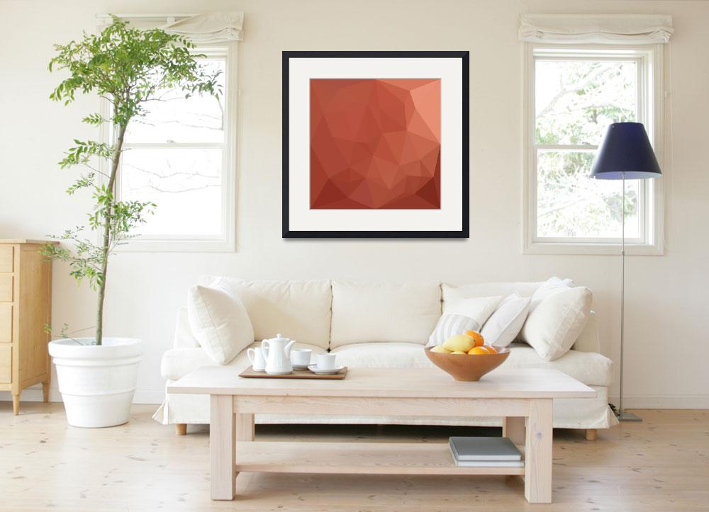 """Burnt Sienna Orange Abstract Low Polygon Backgroun&quot  (2016) by patrimonio"