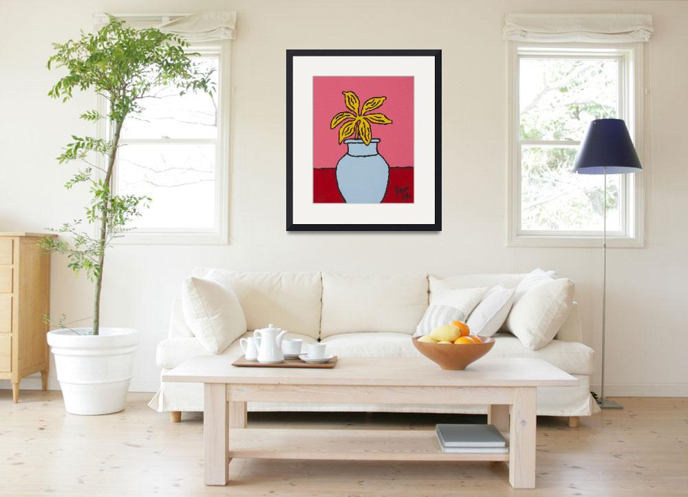"""""""yellow flower light blue vase&quot  by DonKing"""