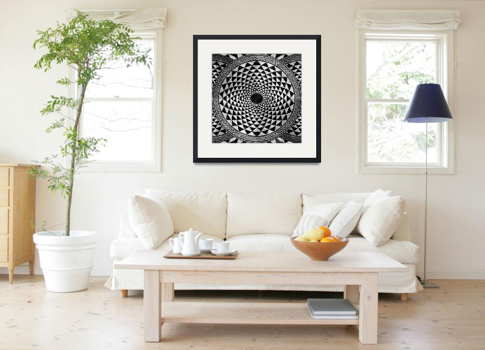 """Mosaic Circle Symmetric Black and White&quot  (2013) by RubinoFineArt"