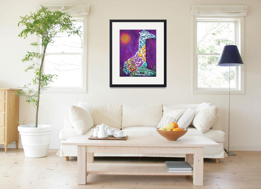 """""""Giraffe of Many Colors&quot  (2014) by ArtPrints"""