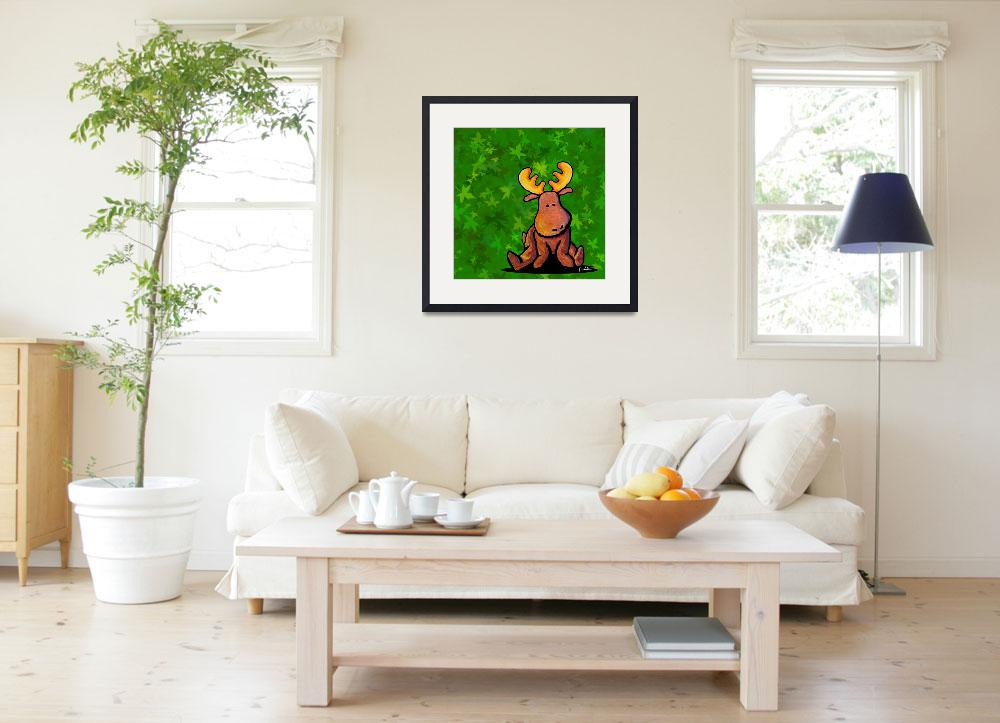 """""""Groovy Moose On Green""""  (2004) by KiniArt"""