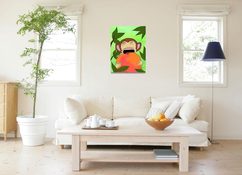 """monkey eat peach&quot  (2009) by madoka"