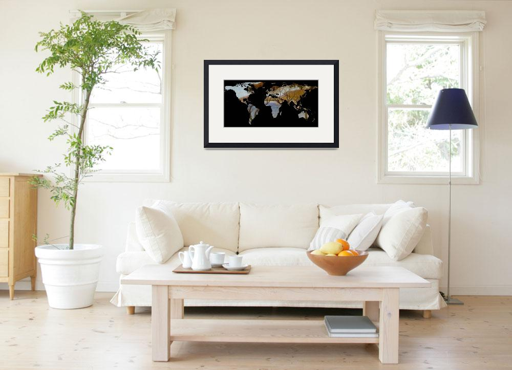 """World Map Silhouette - Coastal Trees Painting&quot  by Alleycatshirts"
