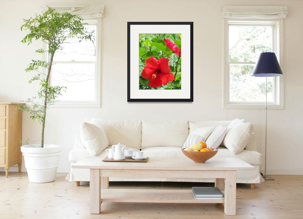 """""""Tropical red hibiscus flowers&quot  (2018) by NormaStampSunnyDaze"""