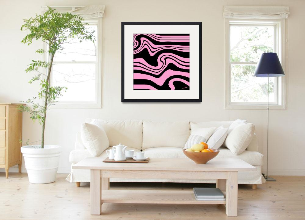 """Pink And Black Stripes Zebra in the Spring""  (2017) by KatHarris"