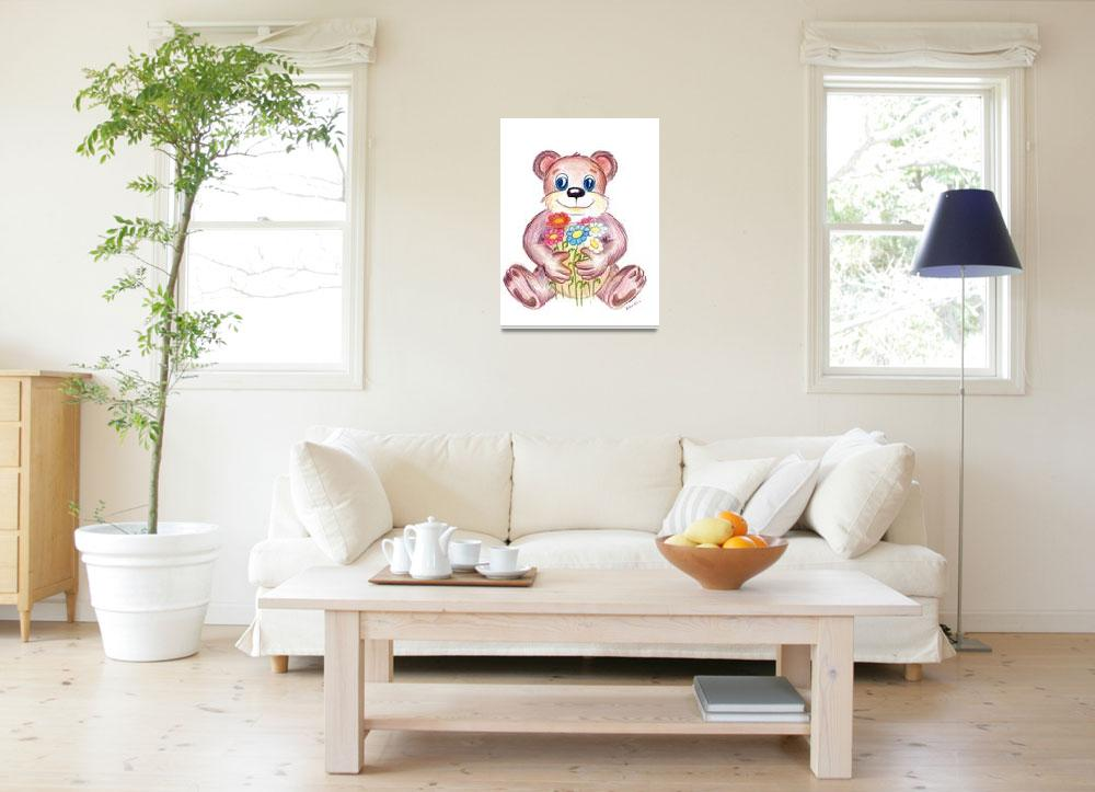"""""""Bear with flowers&quot  (2006) by NewArtLine"""