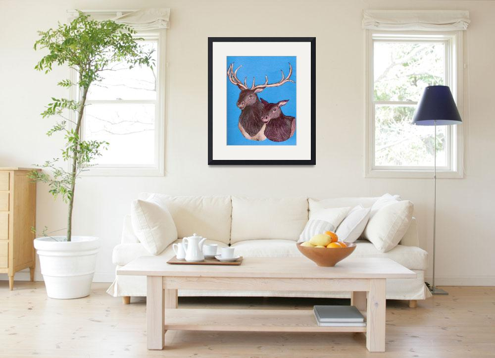 """""""Bull and cow elk&quot  (2008) by woodmaster"""