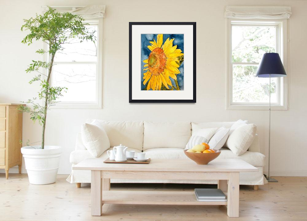 """sunflower macro flower watercolor painting print&quot  (2008) by derekmccrea"