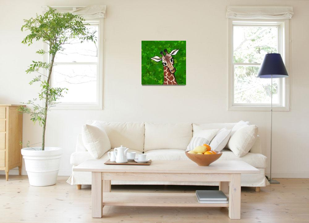 """Giraffe In Green&quot  (2007) by KiniArt"