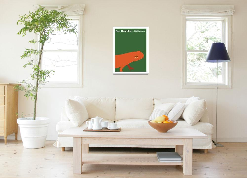 """""""State Posters - New Hampshire State Amphibian: Red""""  by artlicensing"""