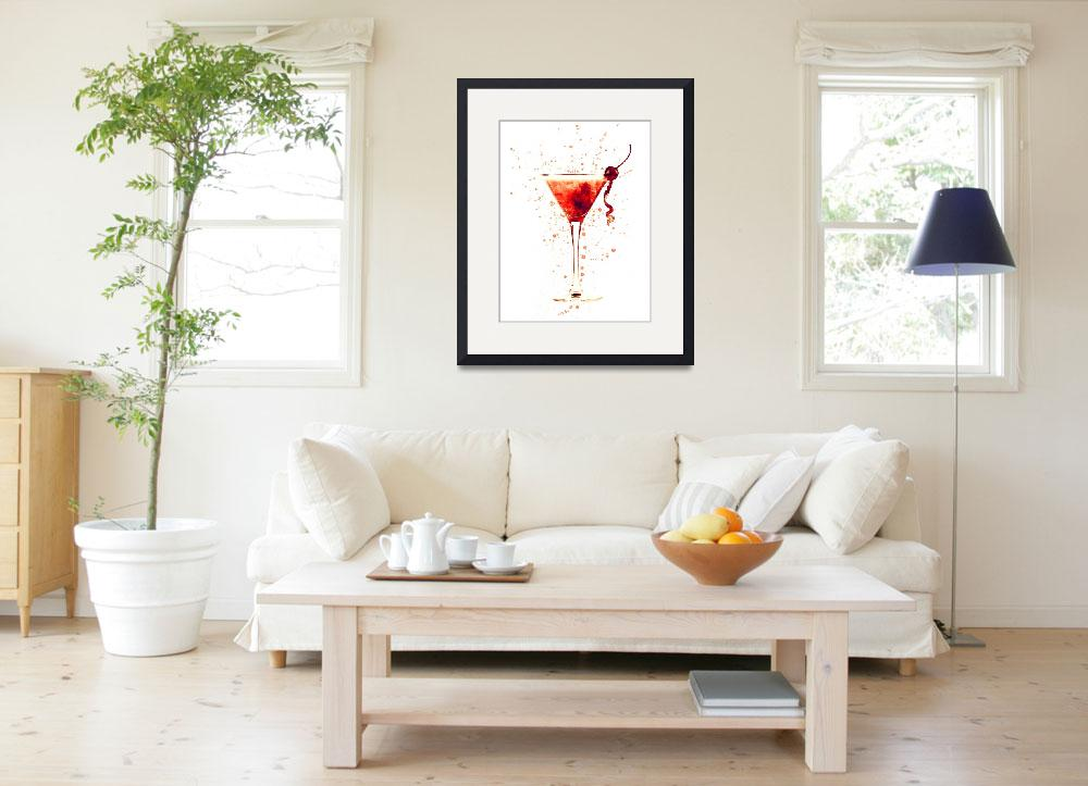 """""""Cocktail Drinks Glass Watercolor Red&quot  (2017) by ModernArtPrints"""