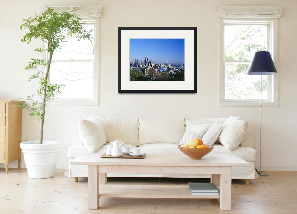 """""""Washington, Seattle Skyline With Space Needle And&quot  by DesignPics"""