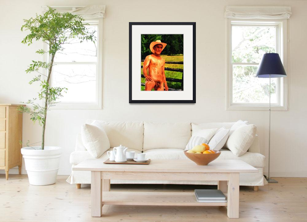 """""""Title:   Nude Cowboy in Field Style:  Oil on Canva&quot  (2012) by JosephBrian"""