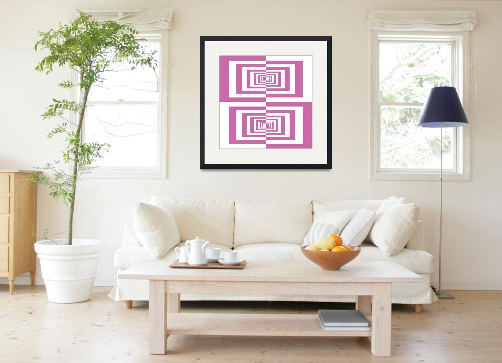 """""""Pink And White Geometric Rectangles&quot  (2014) by MargitBrack"""