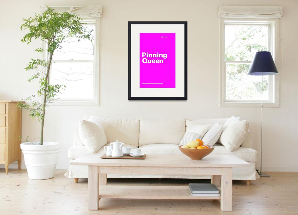 """Pinning Queen typographic poster - Pink and White&quot  (2012) by kken"