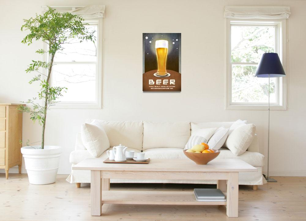 """beer -- no beverages before ME poster""  (2012) by rchristophervest"