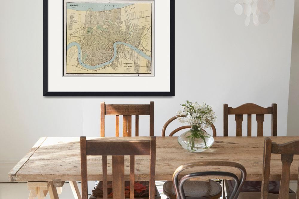 """Vintage Map of New Orleans Louisiana (1919)&quot  by Alleycatshirts"