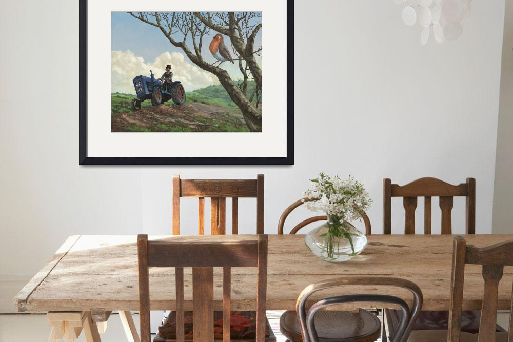 """""""robin in field looking at farmer&quot  (2010) by martindavey"""