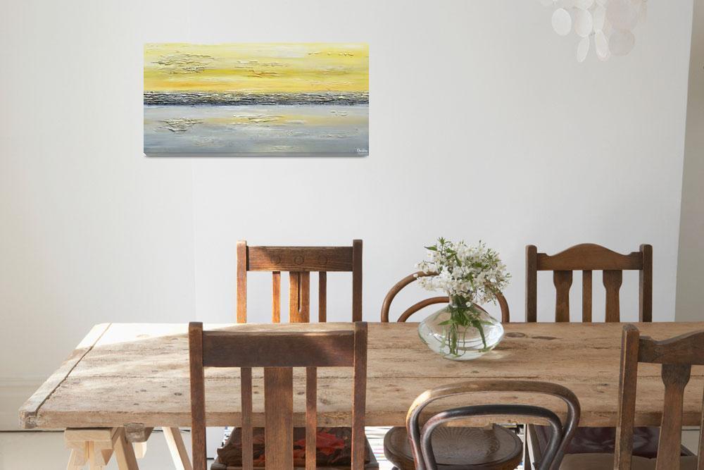 """""Coastal Reflections"" Yellow Grey Abstract&quot  (2014) by ChristineKrainock"