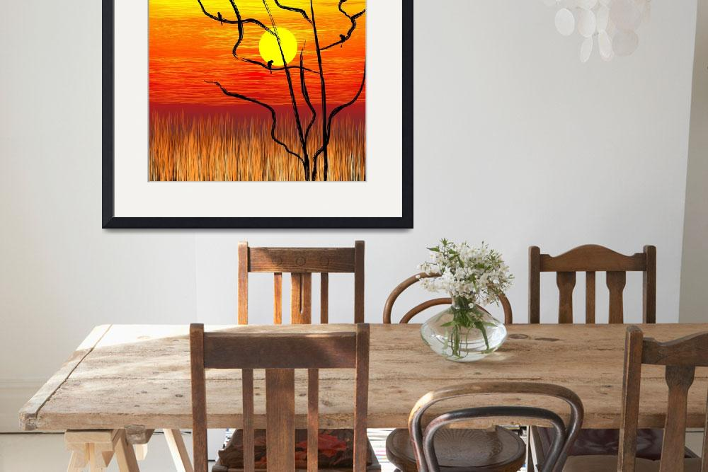 """Digital painting of tree in a sunset""  (2009) by digitalpainting"