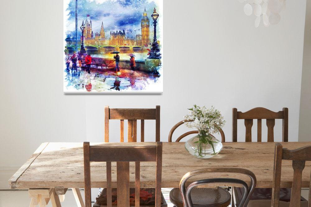 """London Rain Watercolor""  (2015) by MarianVoicu"